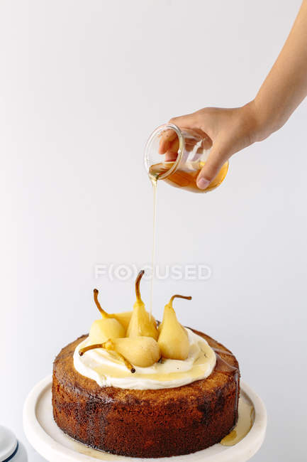 Pear sponge cake — Stock Photo