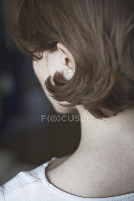 Retrato de cerca de la mujer - foto de stock