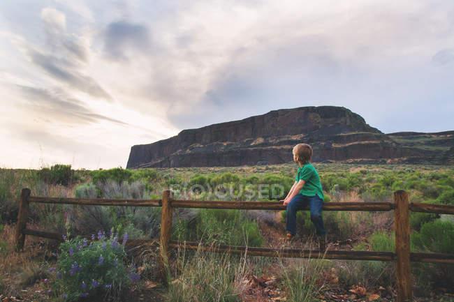 Хлопчик, сидячи на дерев'яний паркан — стокове фото