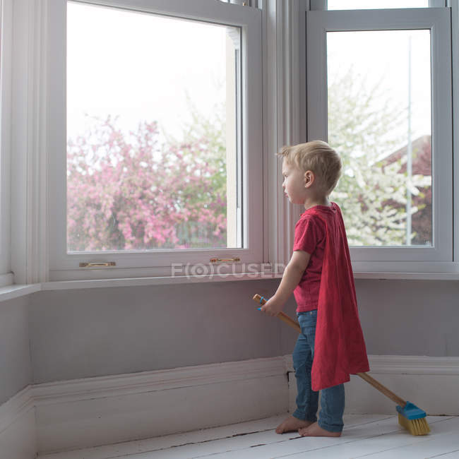 Boy dressed like superhero — Stock Photo