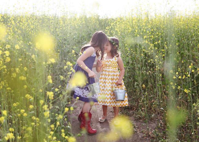 Две девушки с ведрами собирают цветы — стоковое фото