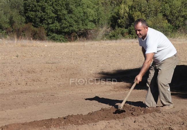 Homem cavando com enxada de jardim — Fotografia de Stock