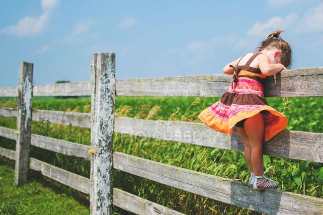 Mädchen steht auf Zaun — Stockfoto