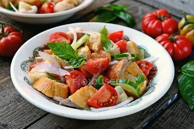 Cuenco de ensalada de panzanella - foto de stock