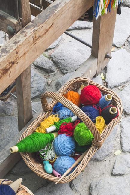 Balls of yarn for weaving carpets — Stock Photo
