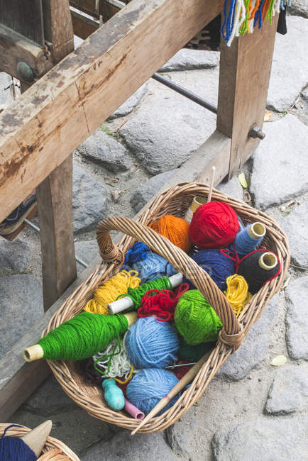 Balls of yarn for weaving carpets — Stock Photo