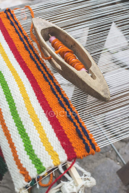 Weaving loom for carpet — Stock Photo