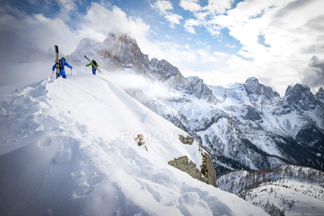 Two men Powder Skiing in Dolomites — Stock Photo