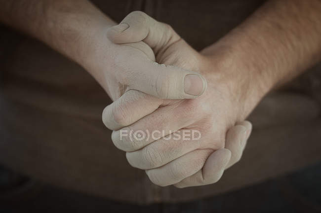 Male hands clasped — Stock Photo
