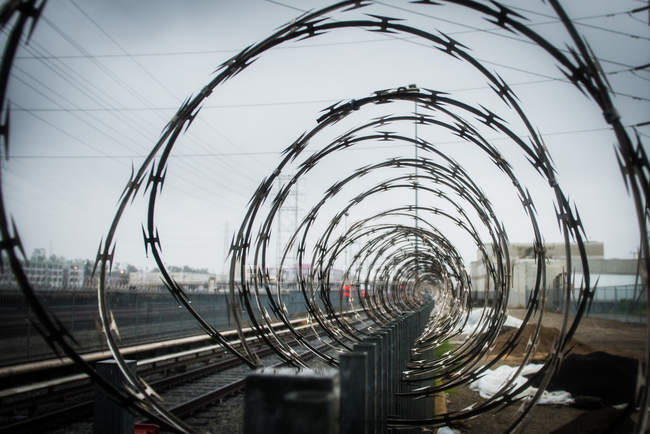 Razor wire in concentric circles — Stock Photo