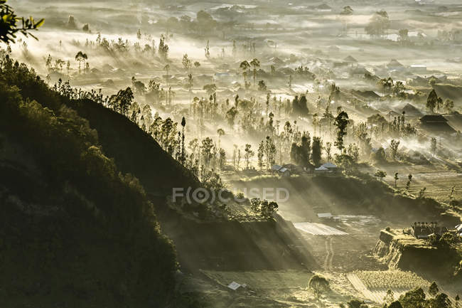 Morning light over Kintamani village — Stock Photo