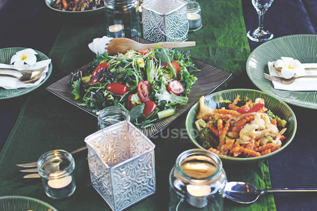Table setting with thai food — Stock Photo