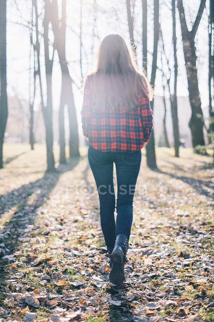 Rear view of hipster woman walking through woodland — Stock Photo