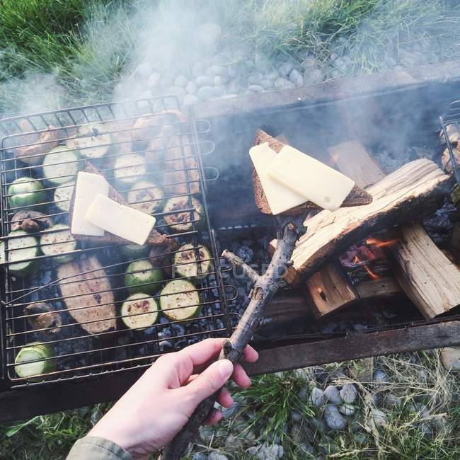 Bread, cheese and vegetables on barbecue grill — Stock Photo