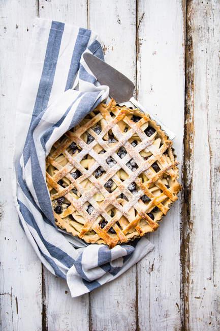 Mela e mirtillo torta della grata — Foto stock