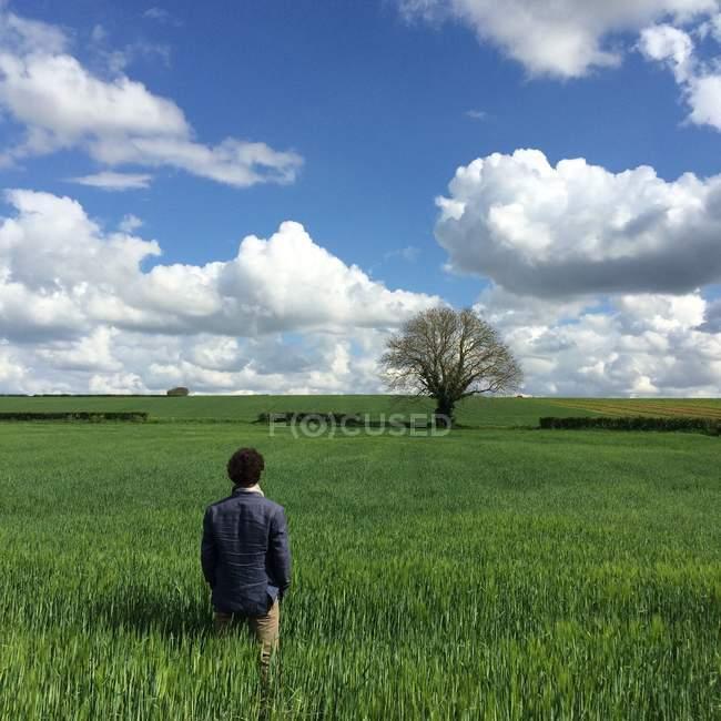 Uomo in piedi sul campo — Foto stock