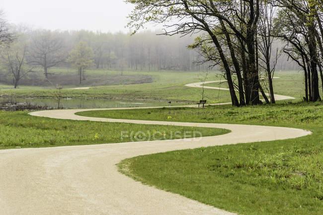 Chemin sinueux à travers le parc — Photo de stock