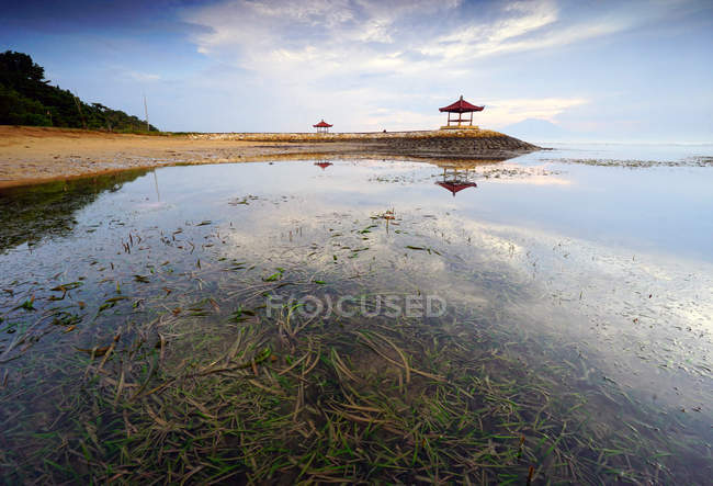 Pavilion on Karang beach — Stock Photo