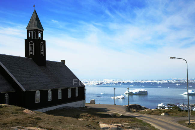 Scenic view of Zions Church, Ilulissat, Greenland — Stock Photo