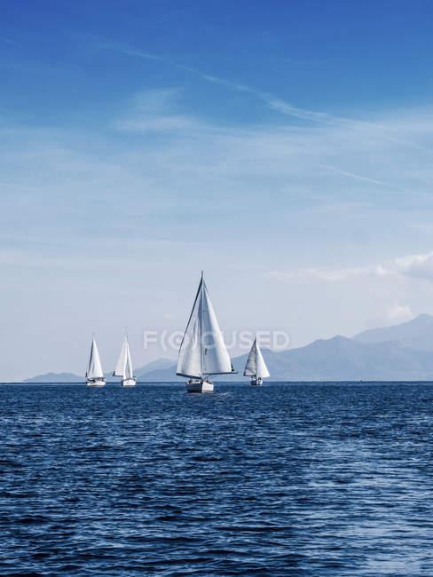 Vista panorámica de regata, Thassos, Grecia - foto de stock