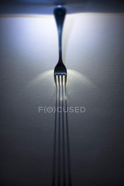 Closeup view of fork throwing shadow — Stockfoto