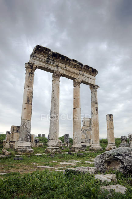 Ruines de l'ancienne colonnade romaine, Hama, Syrie — Photo de stock