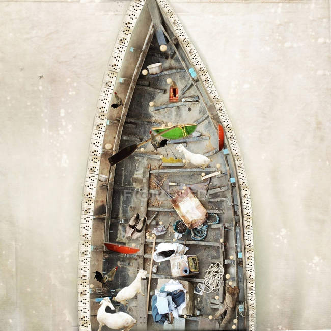 Overhead view of goats, shoes and ropes in a boat, India — Stockfoto