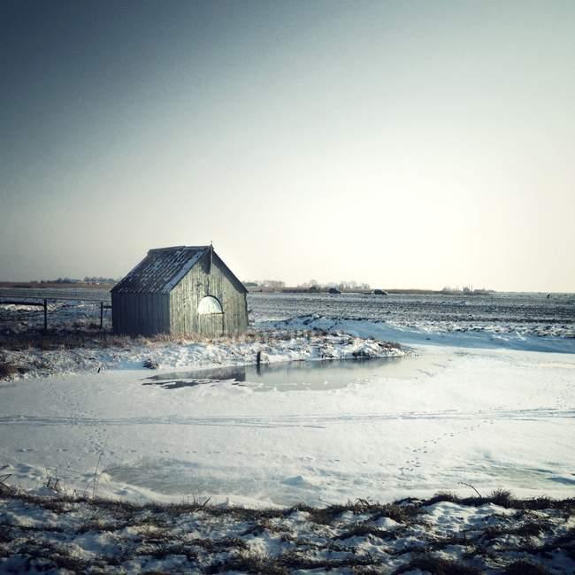 Мальовничим видом shack снігу під сірим небом — стокове фото