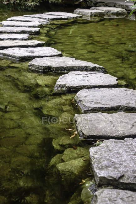 Malerische Aussicht von Stepping Stones in einem Teich im japanischen Garten — Stockfoto