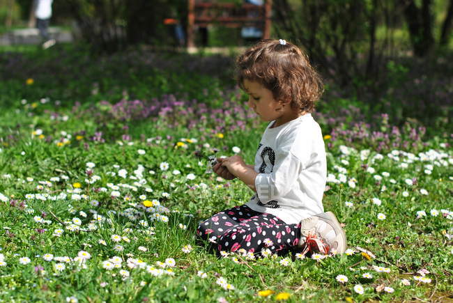 Girl picking spring flowers on meadow — Stock Photo