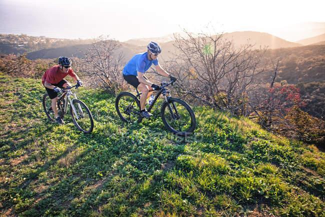 Two men mountain biking along trail on coast — Stockfoto
