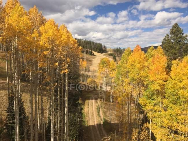 Vue panoramique sur la piste de ski à l'automne, Vail (Colorado), l'Amérique, Usa — Photo de stock