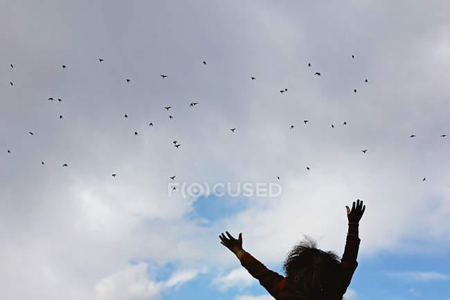 Silhouette eines Mädchens mit ausgestreckten gegenüber einem Vogelschwarm — Stockfoto