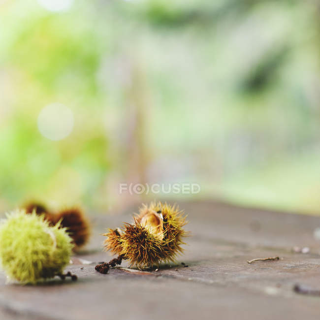 Close-up of chestnuts on a wooden table against blurred background — Stockfoto