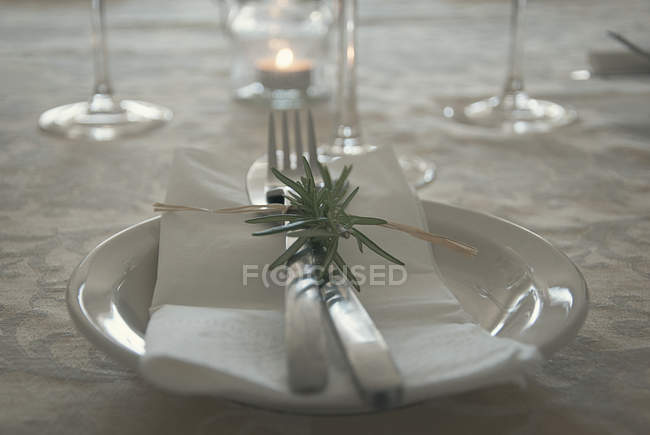 Closeup view of table setting for celebration — Stockfoto