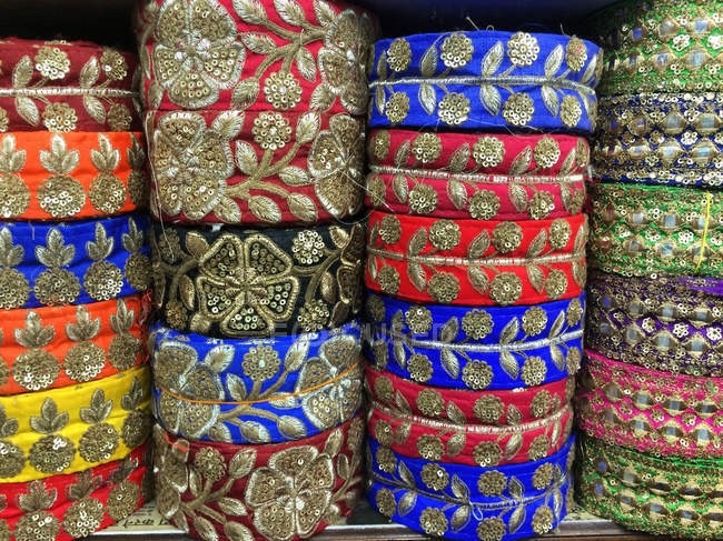 Closeup view of colorful indian traditional ribbons — Stock Photo