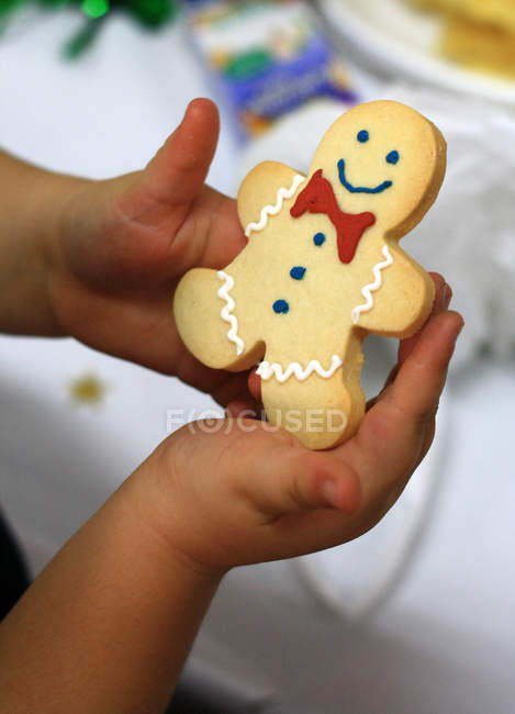Cropped image of Child holding gingerbread cookie, close-up — Stock Photo