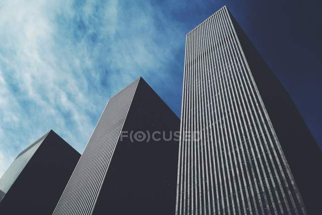 Vista dal basso dei grattacieli del centro di roccia — Foto stock