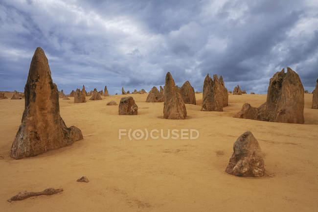 Живописный вид ландшафта пустыни Пиннаклс, Национальный парк Намбунг, Австралия — стоковое фото