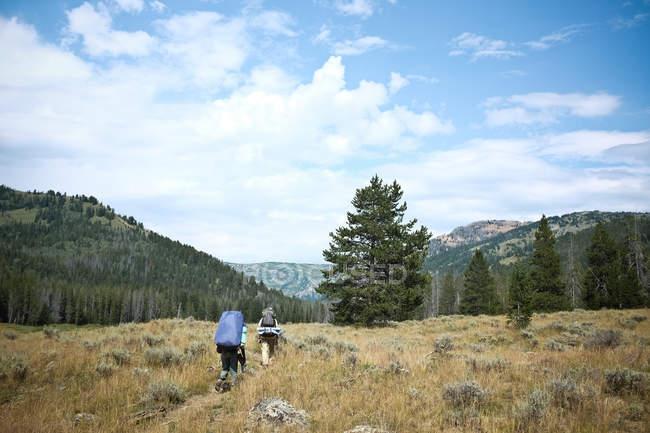 Два человека в горах, Вайоминг, Америка, США — стоковое фото