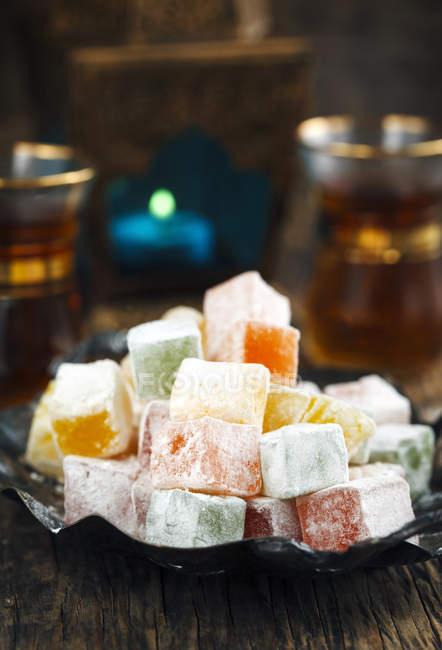 Piatto di dolci di piacere turco rahat-lokum — Foto stock