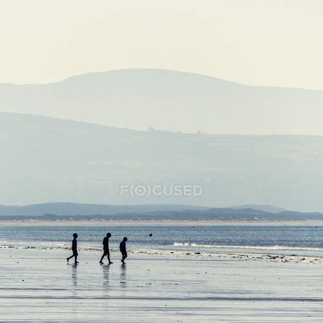 Seitenansicht des Kinder-Silhouetten zu Fuß am Strand — Stockfoto