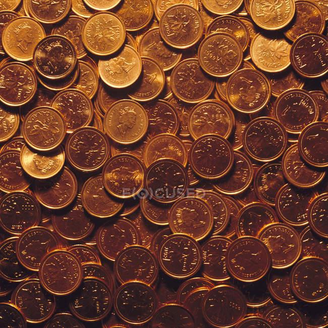 Detailansicht des kanadischen Pfennige im heap — Stockfoto