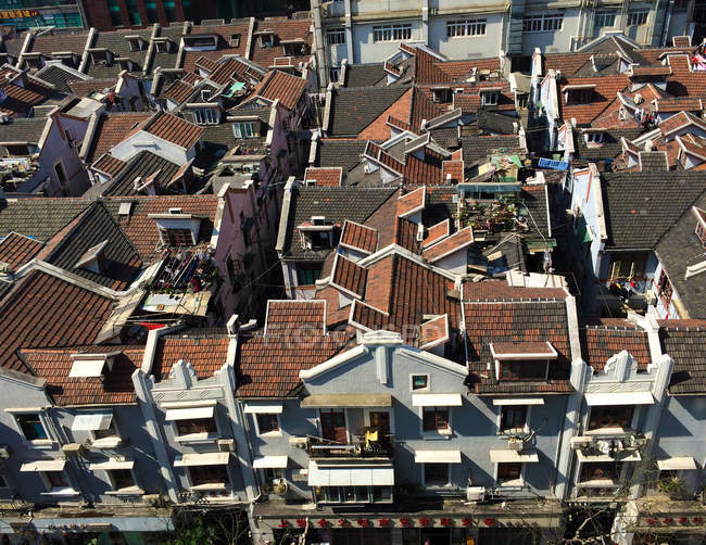 Looking Down View On Traditional Old Homes in Shanghai, China — Stock Photo