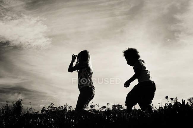 Силуети двох маленьких дівчаток працює в полі — стокове фото