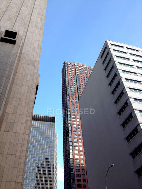 City buildings seen from below, New York City, New York State, USA — Stock Photo