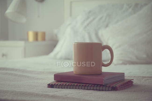 Mug and two books on a bed, closeup — Stockfoto