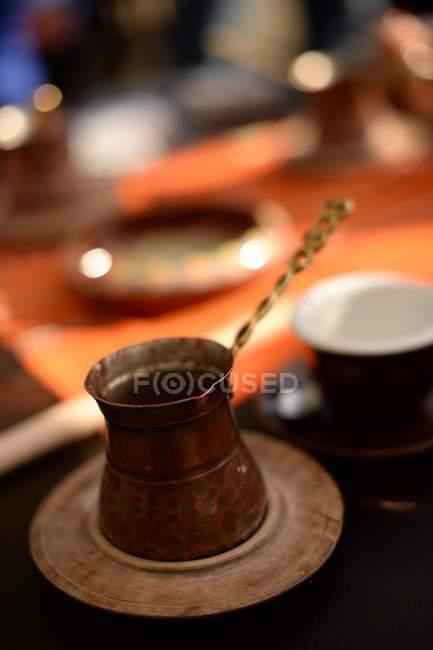 Closeup view of turkish coffee pot, selective focus — Stockfoto