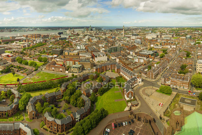 Scenic view of cityscape, Liverpool, England, UK — Stock Photo