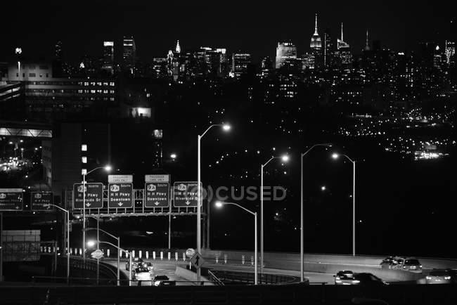 Scenic view of New York City at night, monochrome, New York, USA — Stock Photo